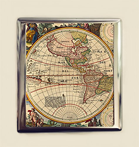Old Map Cigarette Case Business Card ID Holder Wallet Antique Image Maps Geography North South America