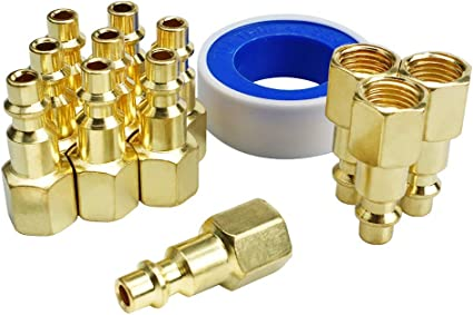 Industrial Style D Plug with Brass Finish for Quickly and Safely Disconnect Air Hose Toolsland 12 Pack Female Air Coupler Plug and Thread Seal Tape 1//4-Inch NPT Thread Quick Connect Air Fittings set