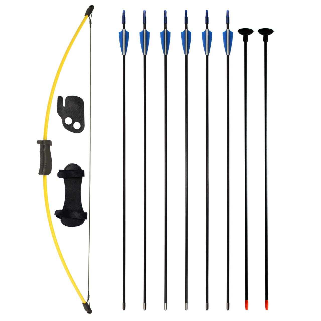 SinoArt Bow and Arrow Set for Teens Outdoor Sports Game Hunting Gift Archery Bow Set with 8 Arrows 16 Lb (Yellow)