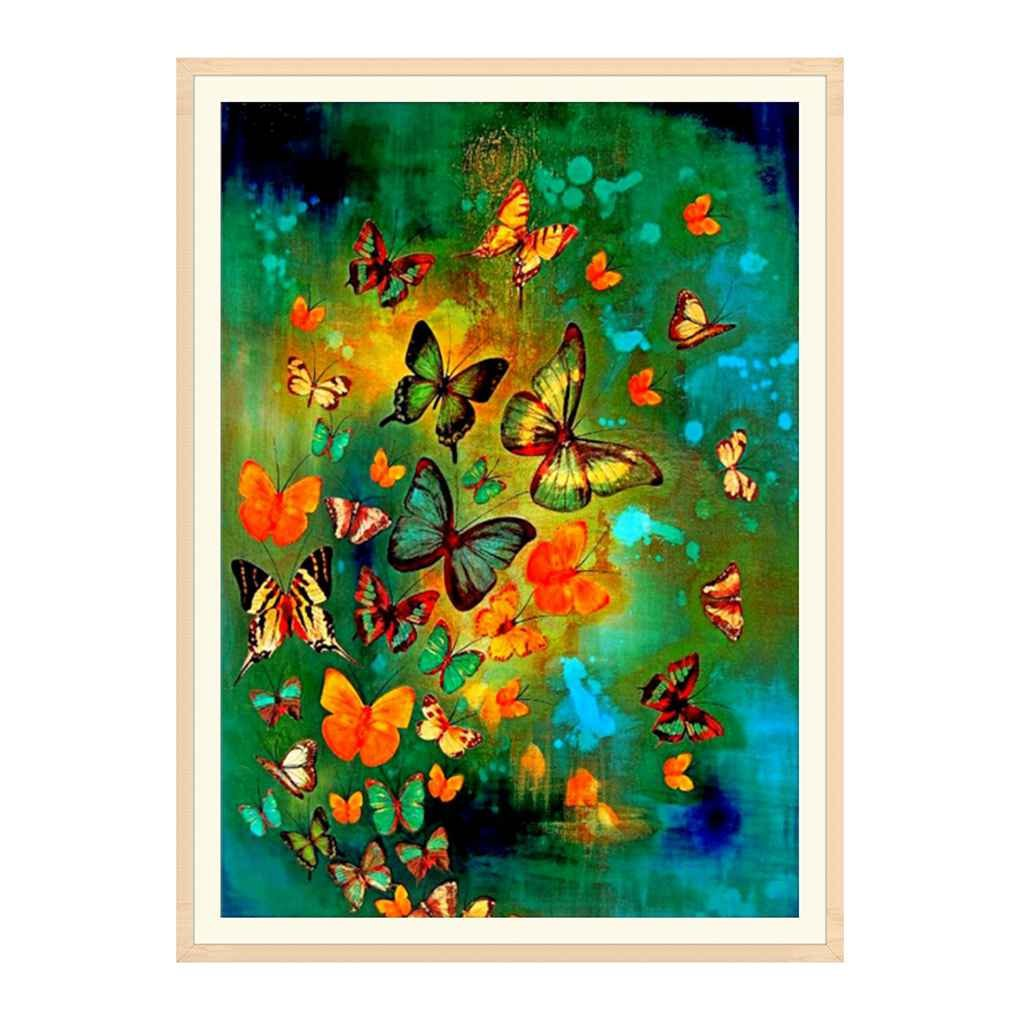 Masterein Colored Owl Horse Butterfly Painting Animals Embroidery Cross Stitch Resin Diamond Mosaic Picture Decoration Butterfly