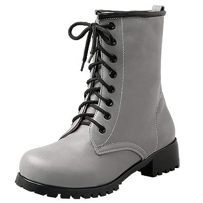 YE Damen Chunky Heel Ankle Boots Chukka Stiefeletten Blockabsatz Schnürung  Kurzschaft Stiefel Einfach Fashion Schuhe( ee17f63fbe