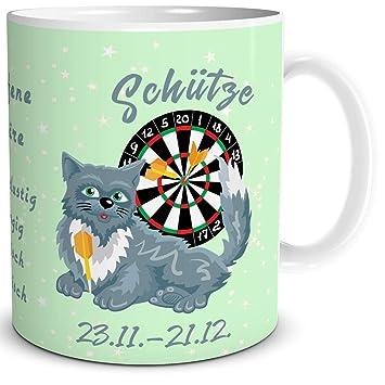 Triosk Tasse Katze Sternzeichen Schutze Mit Spruch Als Lustiges