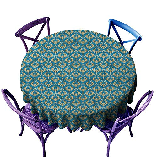 (ONECUTE Spill-Proof Table Cover,Damask Repetitive Floral Motifs with Curlicues Royal Revival Old Fashion Earth Tones,Table Cover for Kitchen Dinning Tabletop Decoratio,43 INCH Blue Apricot)
