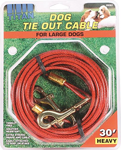 30-Feet Coastal Pet Products DCP89062 Titan Dog Heavy Tie Out Cable with Brass Plated Snaps, 30-Feet