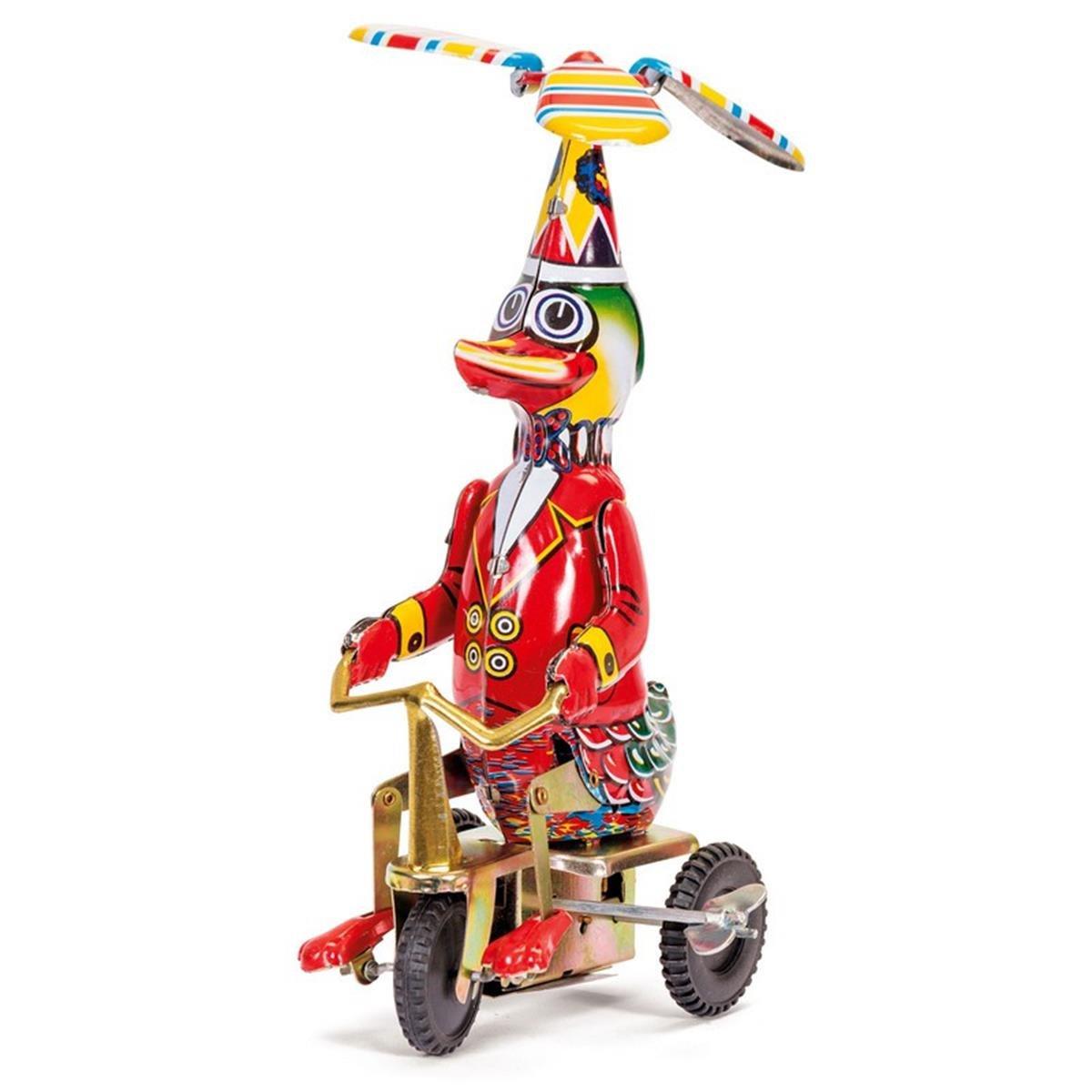 Childrens Fun Play Tin Duck On Bike Detailed Clockwork Mechanism Kids Toy by Tobar