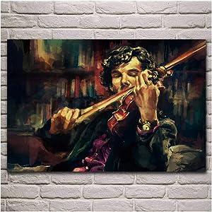 5STARS N&R Sherlock Holmes Playing Violin Portrait Artwork Fabric Poster Living Room Home Wall Decorative Canvas Art Print -60x90cm No Frame
