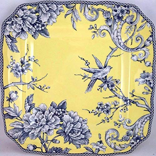 Plate Toile Porcelain (222 Fifth Adelaide Yellow Dinner Plate, Set of 4, Square Toile)