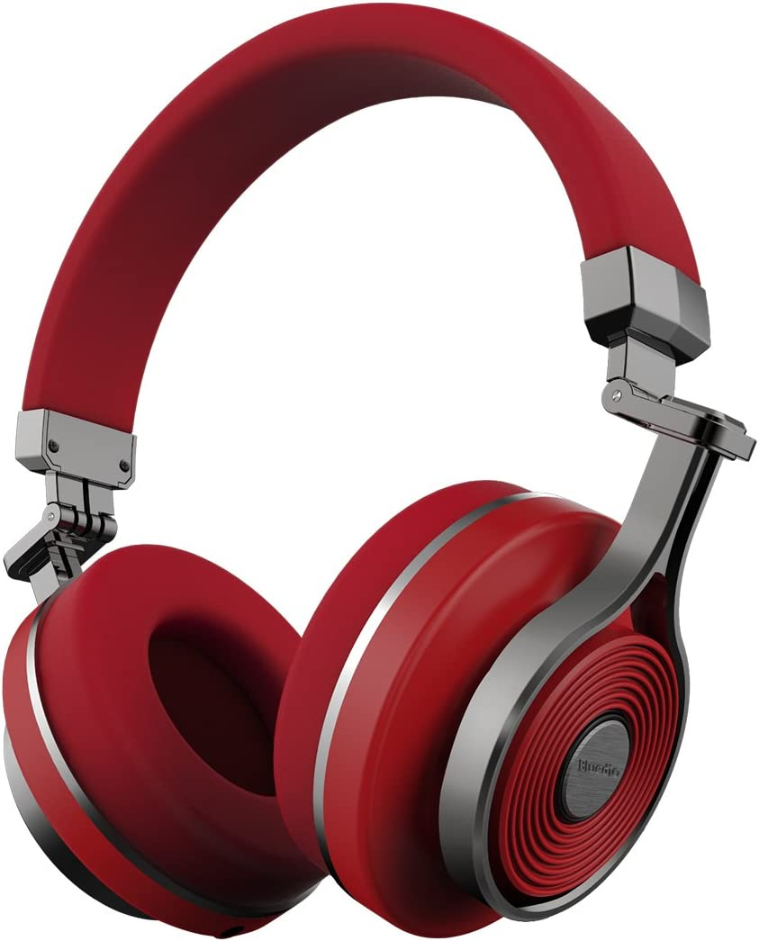 Amazon Com Bluedio T3 Extra Bass Bluetooth Headphones On Ear With Mic 57mm Driver Folding Wireless Headset Wired And Wireless Headphones For Cell Phone Tv Pc Gift Red