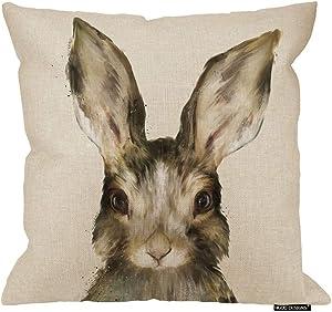 HGOD DESIGNS Pillow Case Sofa Cute Art RABIT Watercolor Bunny Throw Cushion Cover Home Decor Cotton Linen(18X18 Inch)