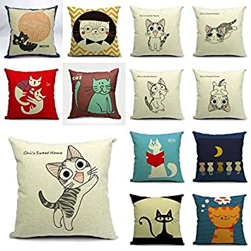 Amazon.com : Funda de Almohada Cojin Cojines Estampado Gatos ...