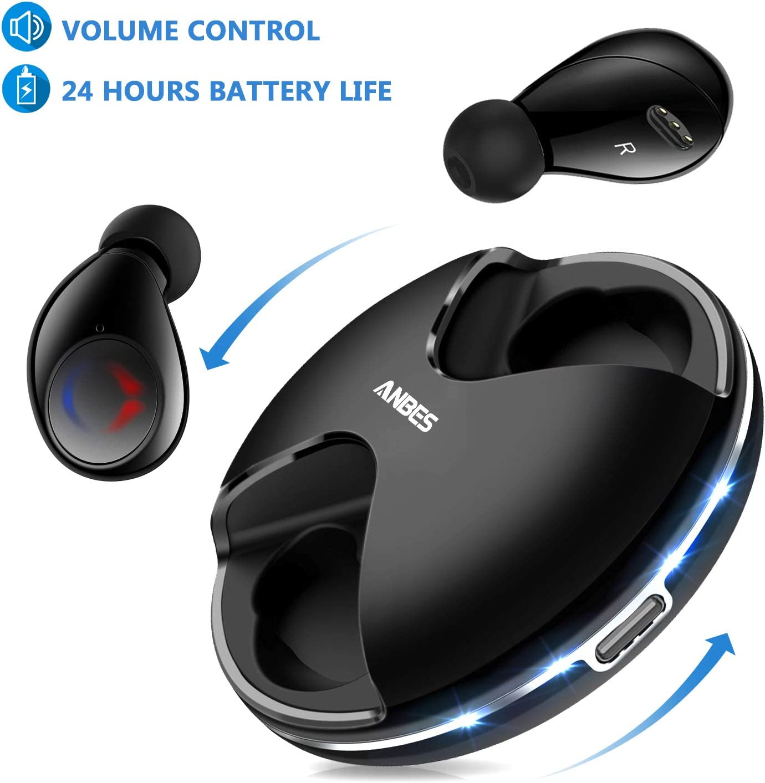 ANBES Auriculares inalámbricos Bluetooth 5.0 con graves profundos y sonido estéreo, auriculares intrauditivos