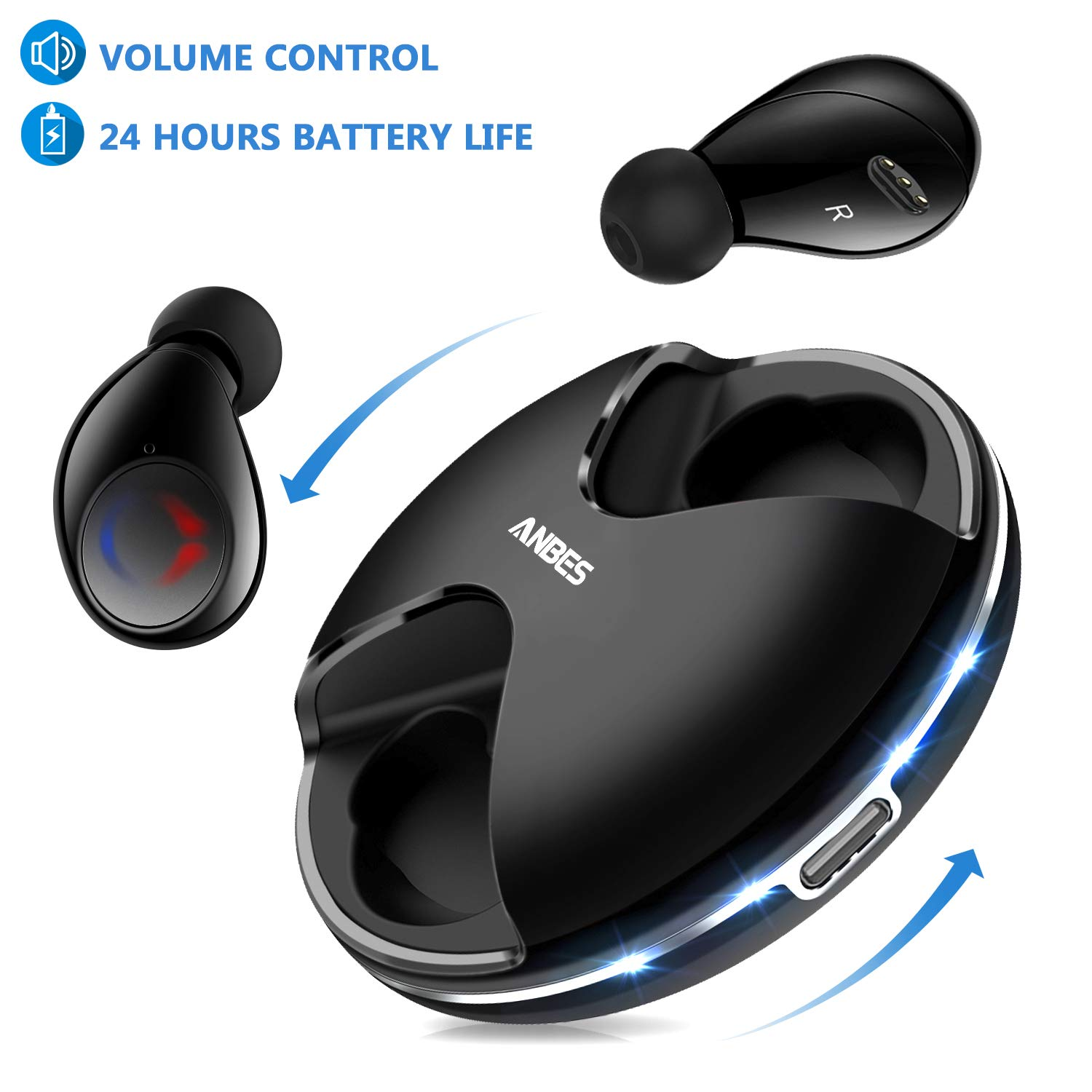 Anbes 359 Bluetooth 5.0 True Wireless Earbuds, 24H Playtime Deep Bass HD Sound, Headphones Noise Cancelling, in-Ear Headset with Built-in Mic Hands-Free Calls