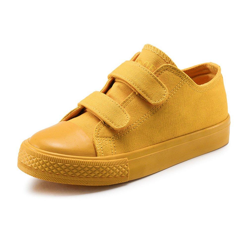 Maxu Canvas Kid Sneaker Velcro Loafers,YellowBig Kid,6M