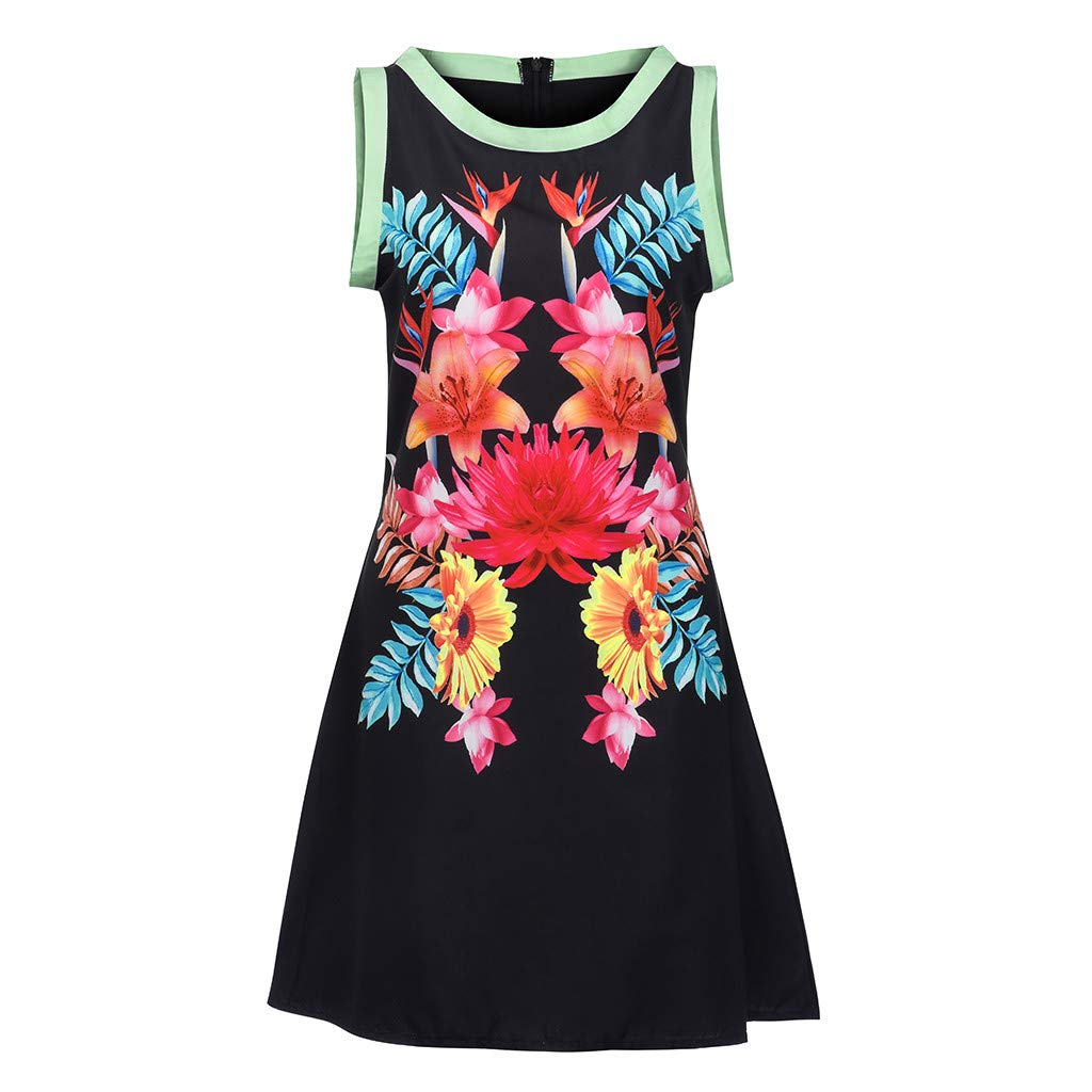 Mysky Fashion Women Elegant Bohemian Floral Print Bowknot Mini Dress Ladies Summer Casual Sleeveless Beach Dress