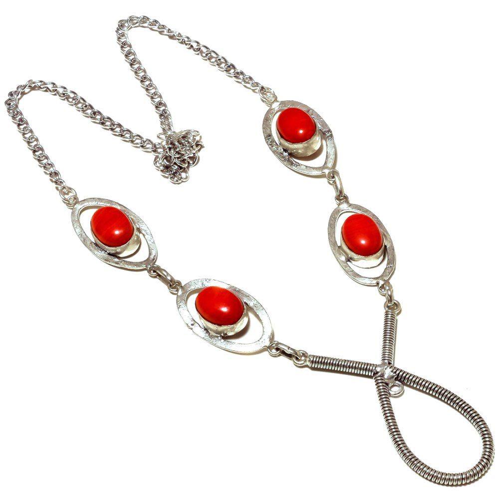 Most Liked Jewelry Red Coral Sterling Silver Overlay 32 Grams Oxidized Necklace 17-18