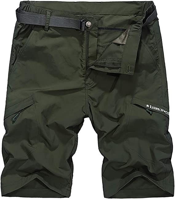 Mens Belted Cargo Shorts Multi Pocket Army Hiking Short With Belt Casual Short