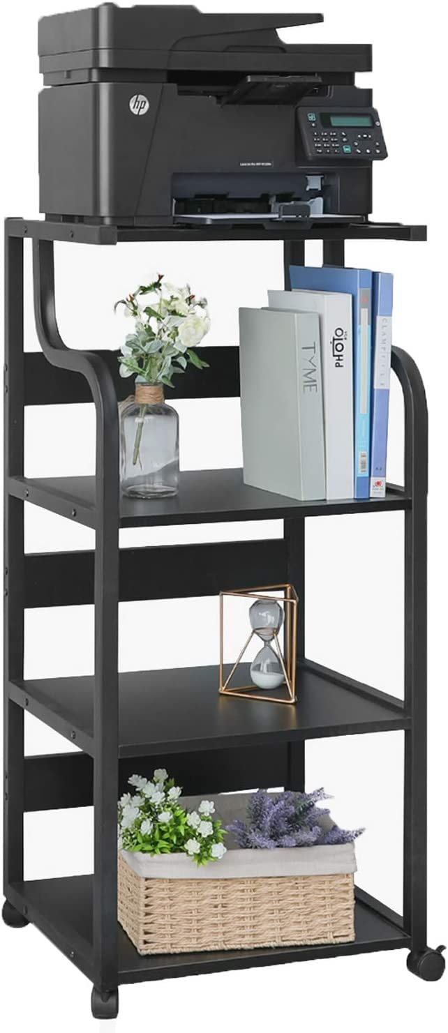 HOMFY 4-Tier Printer Stand with Storage Shelves, Large Printer Desk Cart Shelf with Wheels for Home, Office, Living Room and Kitchen - Black