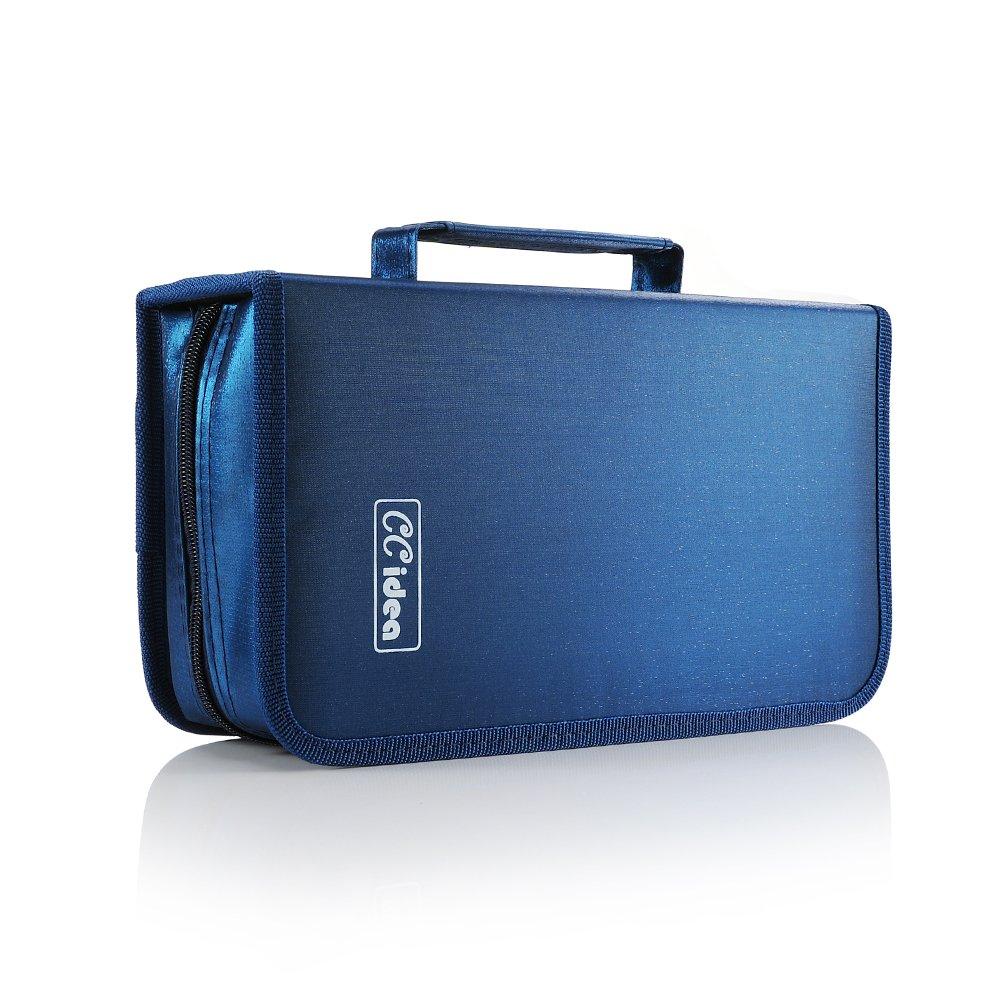 CCidea 128 Capacity CD/DVD Case Holder, Storage Binder (Blue)