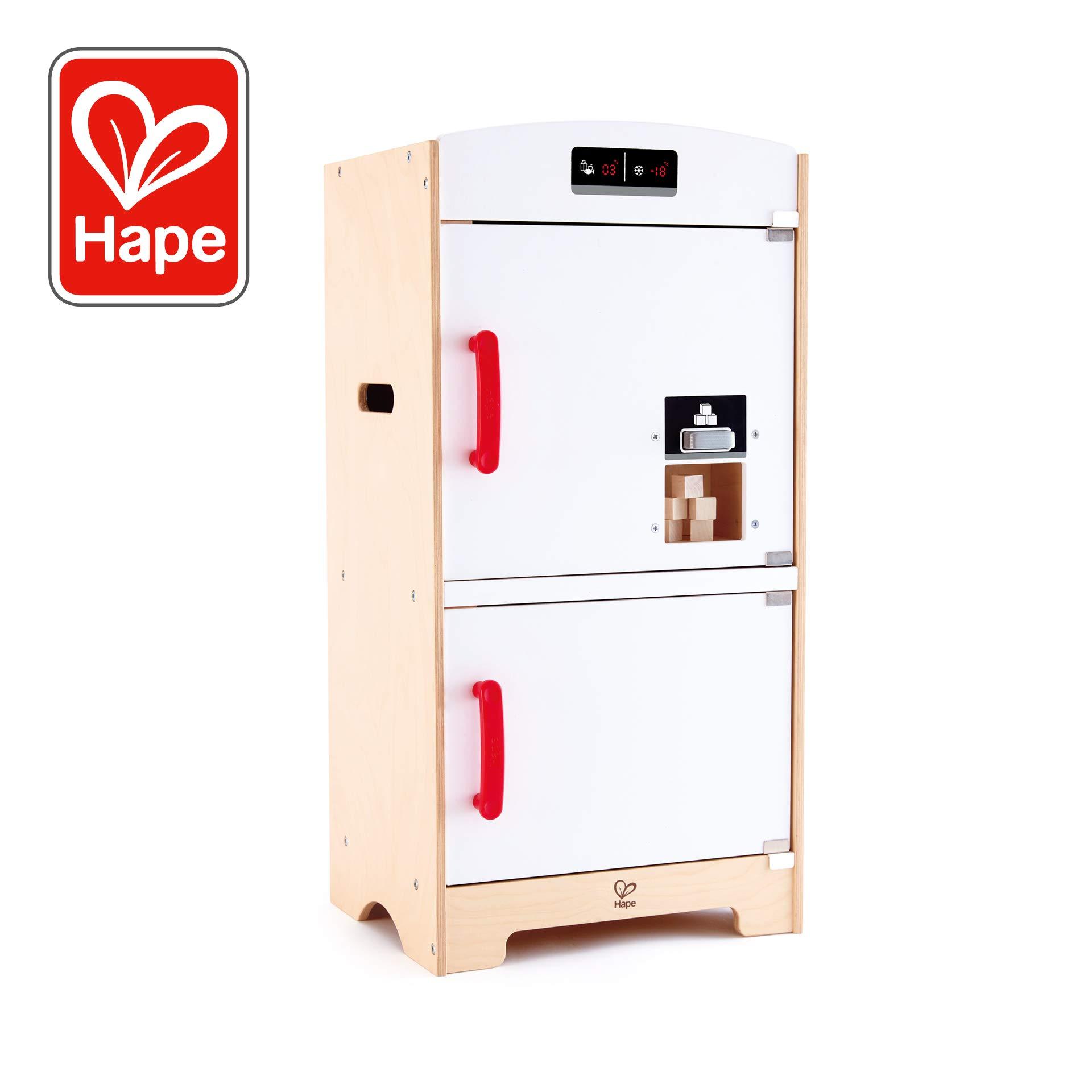 Hape Gourmet Kitchen Wooden Fridge | Cabinet Style Refrigerator Fridge Freezer with Ice Dispenser, Unique Toy Kitchen Playset for Kids