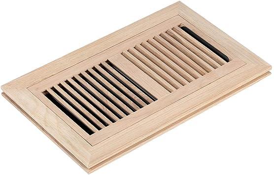 Homewell White Oak Wood Floor Register, Flush Mount Vent with Damper, 6X14 Inch, Unfinished