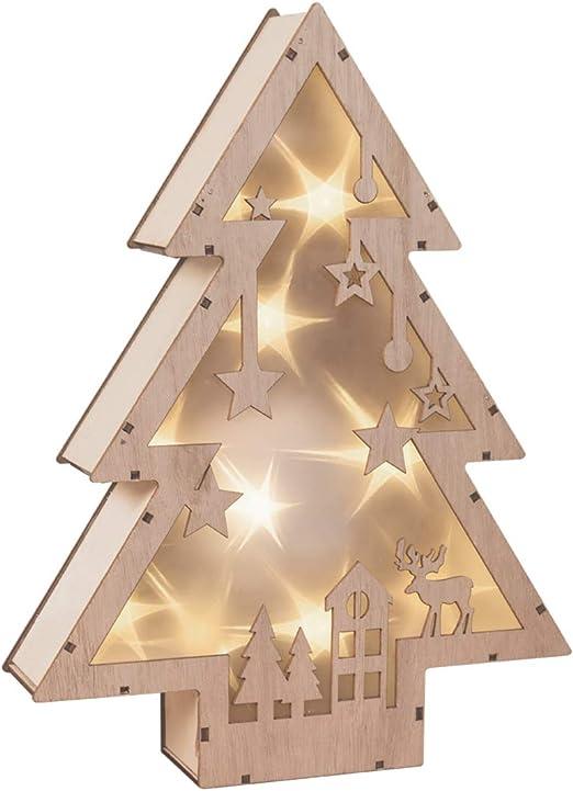 The Christmas Workshop - Caja de luz LED de madera para árbol de Navidad, diseño de bosque con corte láser, madera, pino: Amazon.es: Iluminación