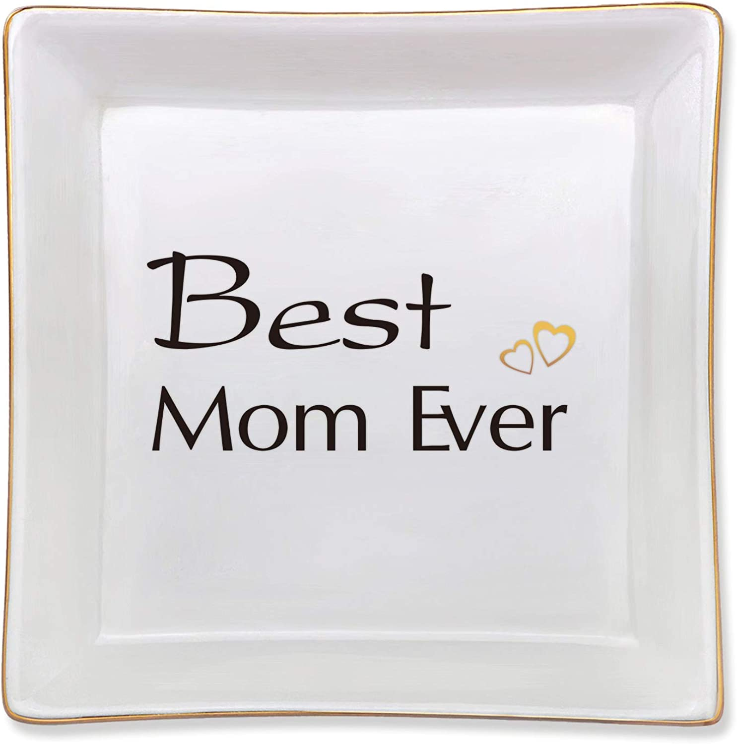 Best Mom Ever Ceramic Jewelry Tray Mom Birthday Gifts From Daughter Birthday Gifts For Mom Mother Of The Bride Gifts Mom Gift From Daughter Thanksgiving Gifts Home Decorative Trinket Plate Amazon Ca Jewelry