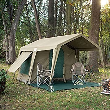 Delta Zulu Combo Canvas 4 Person Chalet Tent with gazebo. Modular basec& tent solution with : ripstop tent fabric - memphite.com