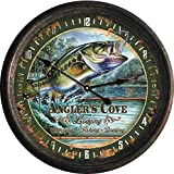 Cheap River's Edge Products 15″ Rusted Bass Clock
