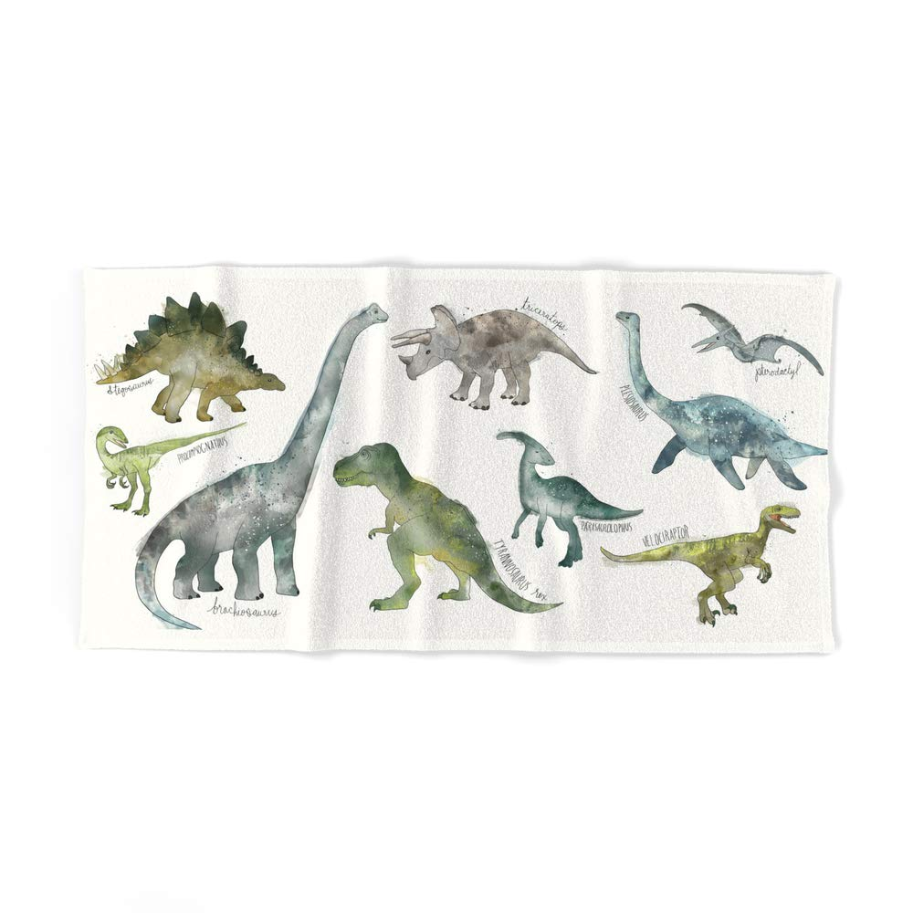 Society6 Bath Towel, 64'' x 32'', Dinosaurs by amyhamilton by Society6