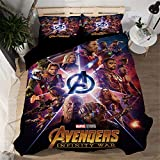 Jameswish Marvel Avengers 3D Duvet Cover Set Spider-Man Iron-Man Printed Bed Cover For Kids Heavy-Duty Microsoft Fiber Comfortable Decorative 1Duvet Cover 2Pillowshams King Queen Full Twin