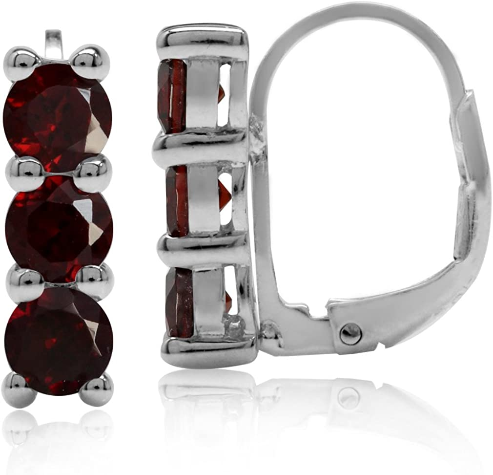 Silvershake 1.98ct. 3 Stone 4mm Natural Garnet White Gold Plated 925 Sterling Silver Leverback Earrings