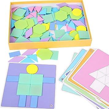 DYTesa 190Pcs/Set Kids Wooden Jigsaw Puzzle Games Color Cognition Educational Toys