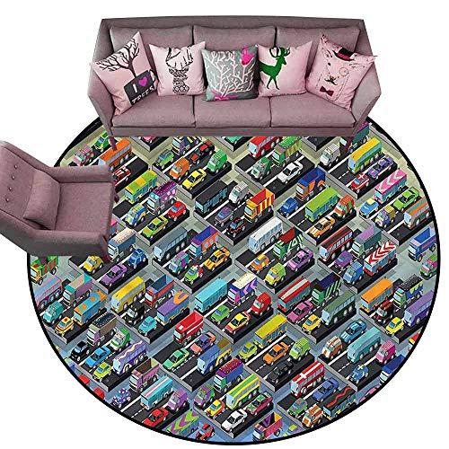 Floor Mat Kitchen Long Carpet Cars,Detailed Vibrant Car Park Diameter 66