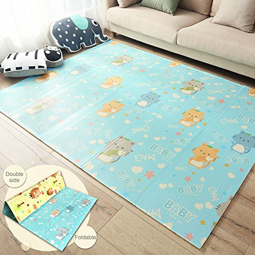 Tumama Foldable Baby Playmat Crawling Mat for Kids Babies Toddler Infant, Soft XPE foam Non Toxic Shock Reversible Waterproof Ground Interactive Exercise Mats, large size 78