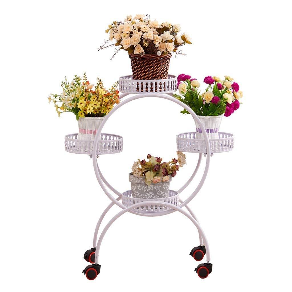 GYMhz Flower Stand Iron Art Salone multipiano con Balcone Interno Che può Essere spostato Pulley Flower Pot Holder