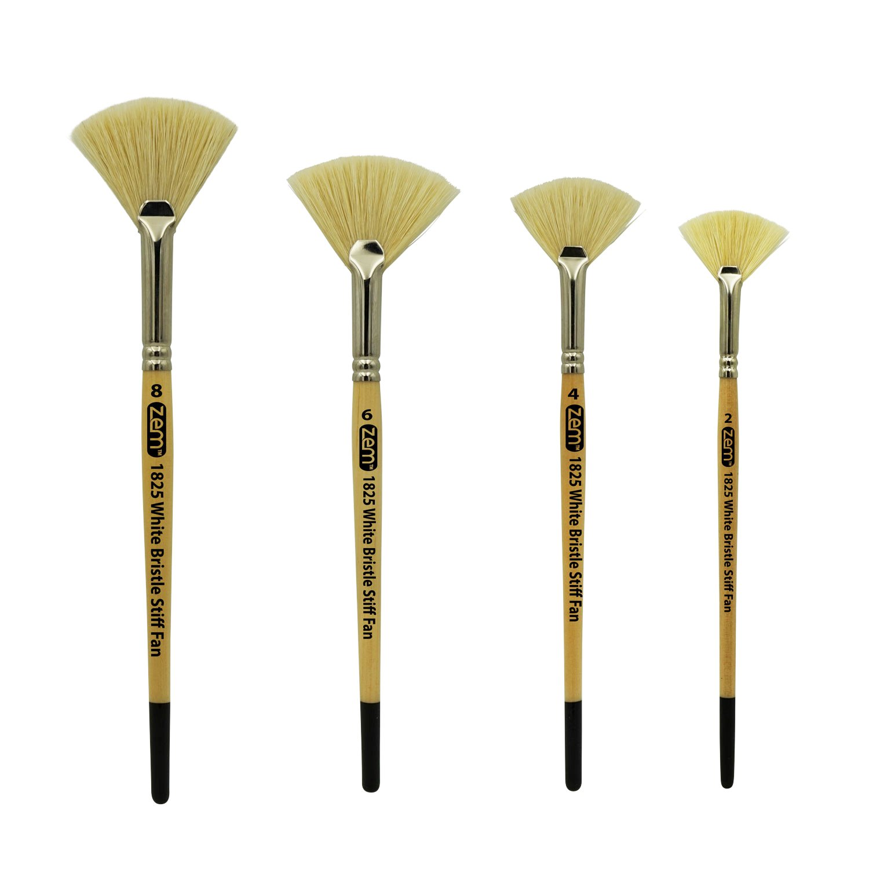 ZEM BRUSH White Bristle Stiff Fan Brush Set Size 2,4,6,8 by ZEM