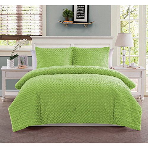 3 Piece Girls Neon Lime Green Faux Fur Theme Comforter Full