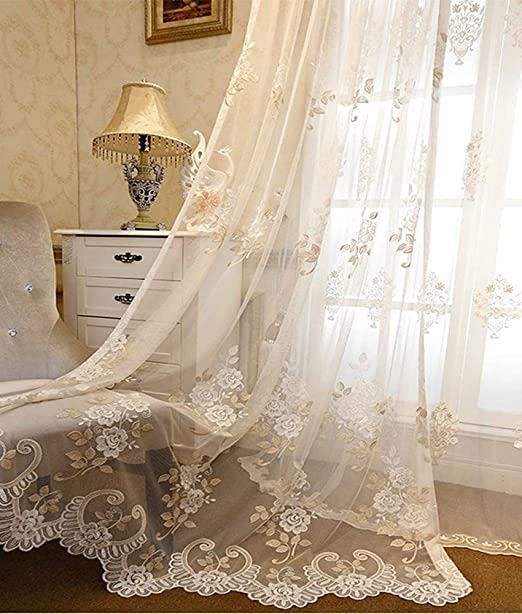 Voile Tulle Curtain Floral Embroidered Sheer Valance Romantic Panel Drape Decor