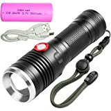 LED Tactical Flashlight torch 1200 lumens cree xm-l2 with 5000mAh 26650 battery USB Rechargeable Zoomable and Waterproof LED Outdoor Handheld portable Flashlight,Adjustable Focus and 4 Light Modes for Camping Hiking hunting etc