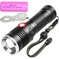 cree xml-t6 1000 Lumens LED Tactical Flashlight USB rechargeable torch Zoomable and Waterproof LED Outdoor Handheld portable Flashlight,Adjustable Focus and 3 Light Modes for Camping Hiking hunting etc