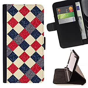 For Samsung Galaxy S5 V SM-G900 Case , Tela escocesa a cuadros Patrón Azul Rojo- la tarjeta de Crédito Slots PU Funda de cuero Monedero caso cubierta de piel