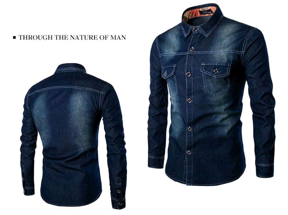 YUNY Mens Vintage Wash Denim Oversize Buttoned Tshirt Top Shirt Black S