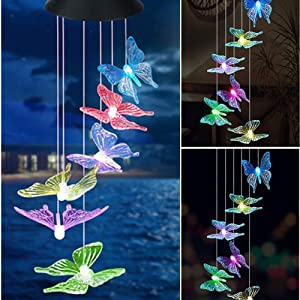 Mosteck Wind Chimes Outdoor Solar Butterfly Wind Chimes Color Changing LED Mobile Wind Chime, Birthday Gifts for Mom/Grandma, Home Party Night Outdoor, Gardening Gift Outside Decor Solar Lights Chimes