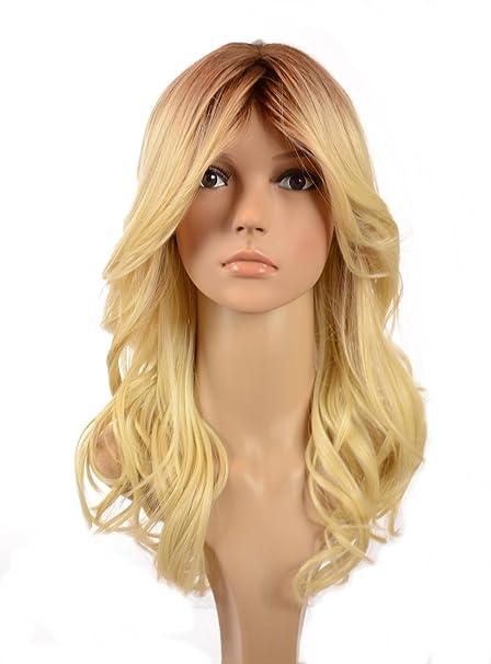 Hair By MissTresses - Peluca de pelo humano ondulado con raíces oscuras y flequillo largo