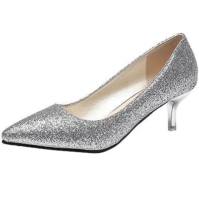 d6006a6e2e828b AIYOUMEI Damen Glitzer Kitten Heel Kleiner Absatz Pumps mit 5cm Absatz  Bequem Schuhe  Amazon.de  Schuhe   Handtaschen
