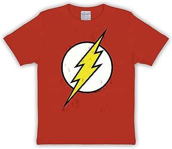 Insignia de Destello Productos Camiseta de la Marca DC Comics ardiente de Material Resistente Rojo