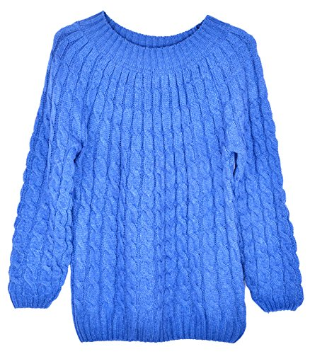 Womens Loose Classical Small Twist Pullover Knitwear Sweater Blue