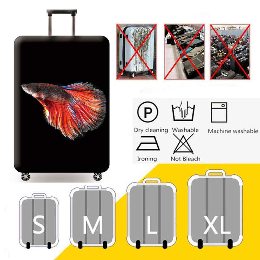 3D Print Design Travel Suitcase Protective Cover 18-32 Suitcase Protective Cover /& High Elastic Spandex Thick wear Protection Sleeve,Goldfish,M