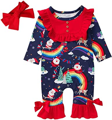 US 2PCS Newborn Baby Girl Xmas Romper Jumpsuit Dress Outfits Clothes Headband