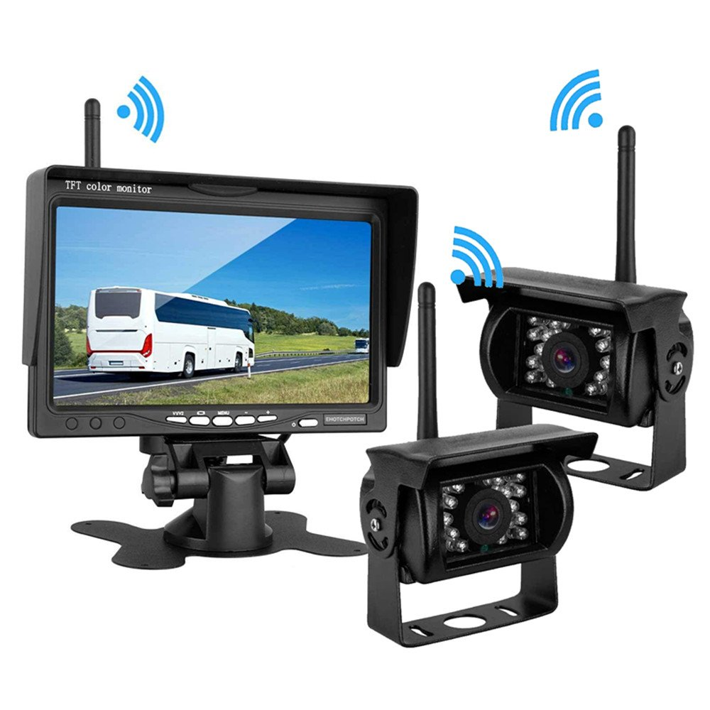 Ehotchpotch Wireless Vehicle 2 x Backup Cameras IR Night Vision Waterproof & Car Rearview Mirror Monitor with 7'' Display, Wireless Parking Assistance System for Truck, Car, Trailer, Bus by Ehotchpotch